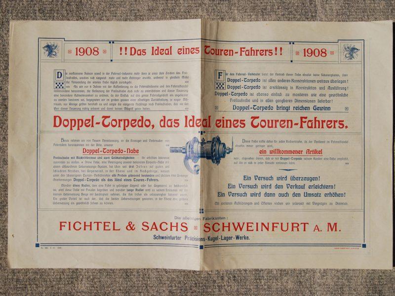 Faltplakat Doppel-Torpedo ca. 1908