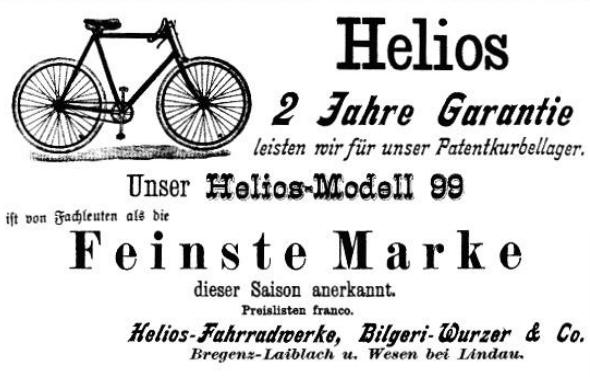 Werbeanzeigen etc. zu den Helios-Werken