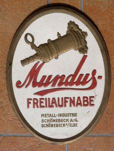 Mundus Nabenwerbung, Pappe, schön gefertigt, sehr selten, 215 x 187 mm