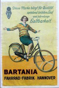Bartania Plakat, Fahrradfabrik Hermann Bartels Hannover 1926, 40 x 60 cm, farbfrisch erhalten