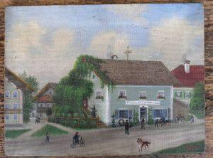 """Gemälde """"Schlosserei-Fahrradwerkstatt"""", gemarkt 1914, Künstler """"Standl"""" 40 x 30 cm, Leinwand auf Spannrahmen"""