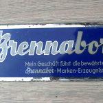 Brennabor Werbe Spiegelglasschild, 10 x 23,5 cm, gut erhalten und sehr rar