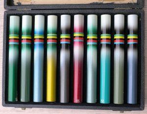 Condor Farbmusterkasten, Schweiz 50er Jahre, 160 x 230 mm, voll bestückt mit allen Farbvarianten