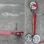 """Honda Tretroller """"Kick and Wheel"""", technisch aufwändiger Tretroller mit Kettenantrieb, gelenkt wird durch Gewichtsverlagerung, 60er Jahre, technisch und optisch sehr gut erhalten"""