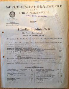 Mercedes Fahrradwerke 1926: Händlerpreisliste Nr. 8 der Mercedes Fahrradwerke Berlin-Marienfelde, DIN A4 mit Lochung. Knick- und Faltspuren erkennbar; Doppelseitiger Druck