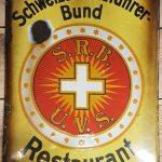 """Lot 85: Emailleschild Schweizer Radfahrer Bund """" Restaurant"""", patinert, frühes Exemplar - Ausrufpreis: 1,00€"""